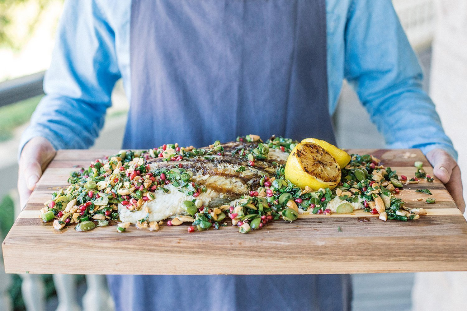 BBQ barramundi with pomegranate and green olive tabbouleh 1