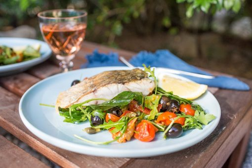 Warm barramundi salad with tomatoes, capers and olives 1