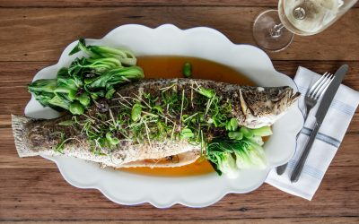 Pan Roasted Barramundi with Asian Greens