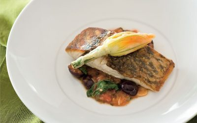 Barramundi with Tomato Salsa and Fried Zucchini Flowers